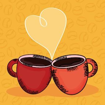 Copos de café com amor de coração