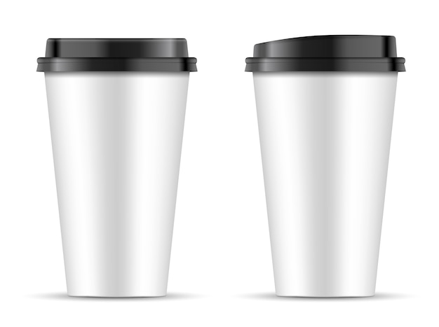 Copos de café de papel branco com tampa preta de forma diferente