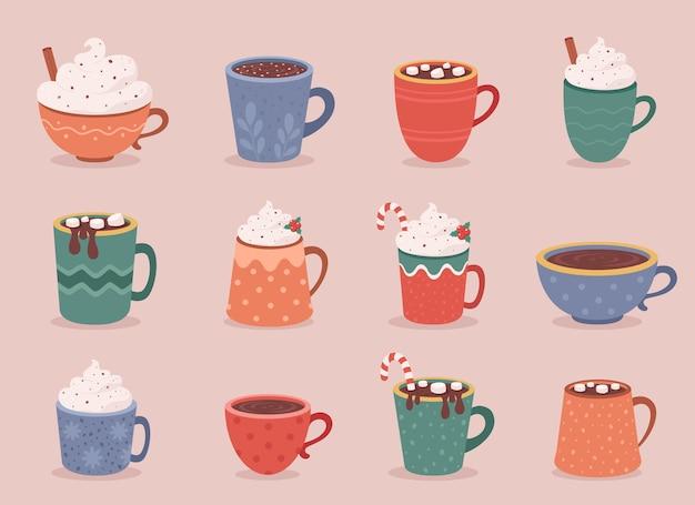 Copos de café e coleção de chocolate quente bebidas quentes de outono e inverno