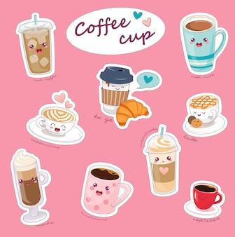 Copos de café kawaii com diferentes bebidas quentes.