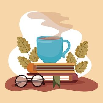 Copos de café, livros e óculos