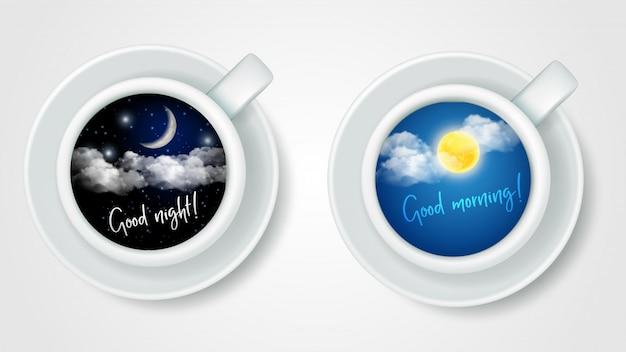 Copos de café realista vista superior