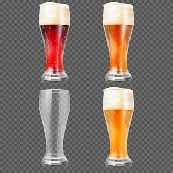 Copos de cerveja com cerveja clara e escuro