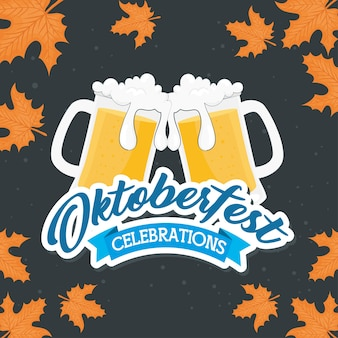 Copos de cerveja com design de folhas, festival oktoberfest da alemanha e tema de celebração