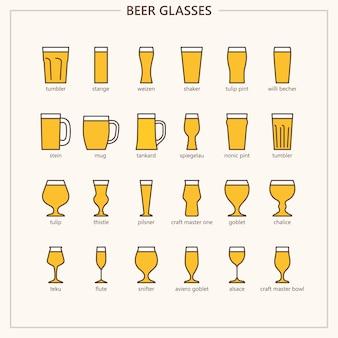 Copos de cerveja (contorno colorido conjunto de ícones)