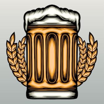 Copos de cerveja desenhados à mão desenhados à mão