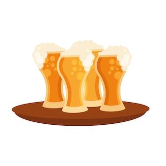 Copos de cerveja no design da bandeja, bebida alcoólica bar cervejaria bebida ale e tema lager ilustração vetorial
