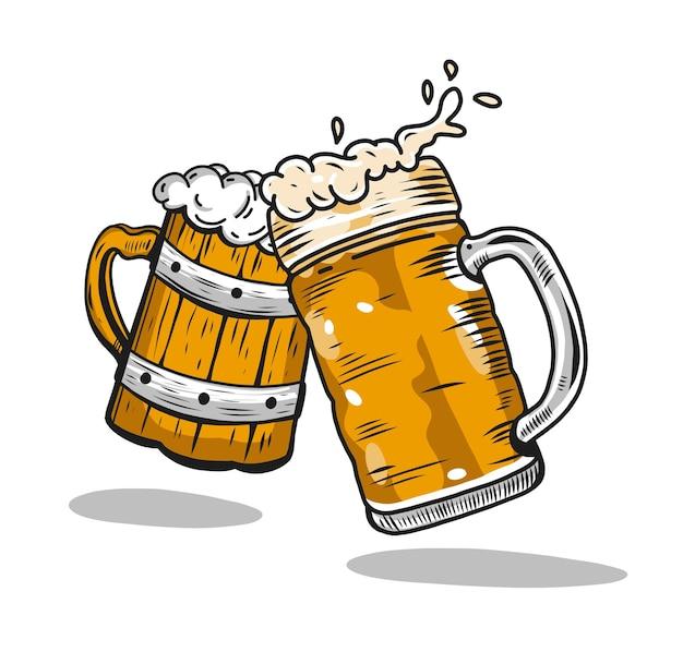 Copos de cerveja. oktoberfest mão desenhada ilustração vetorial. isolado