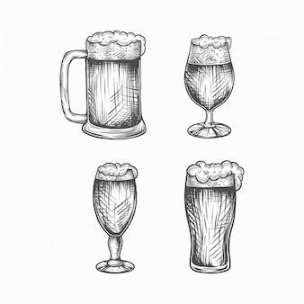 Copos de cerveja vintage handdrawn