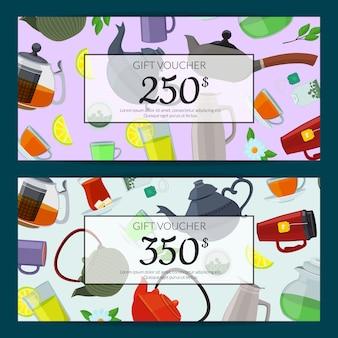 Copos de chá dos desenhos animados