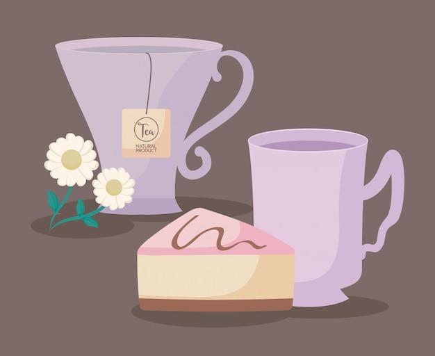 Copos de chá natural com fatia de bolo