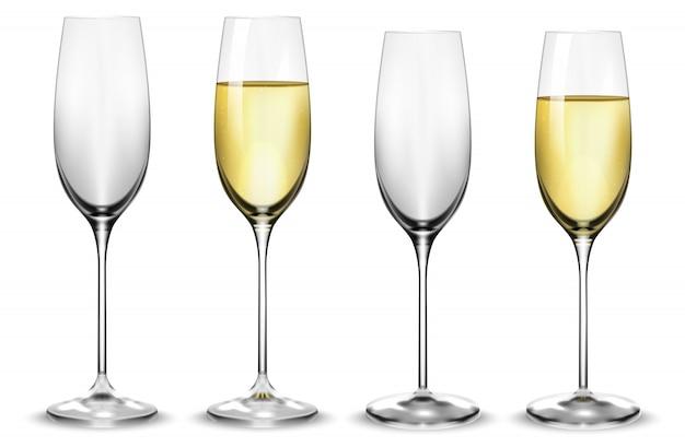 Copos de champanhe brancos cheios e vazios.