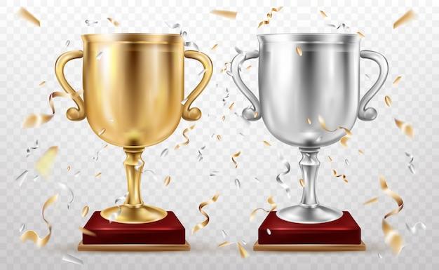 Copos de ouro e prata, troféu esportivo, glória dos cálices