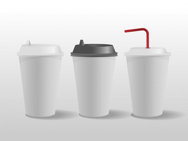 Copos de papel branco, xícara de café.