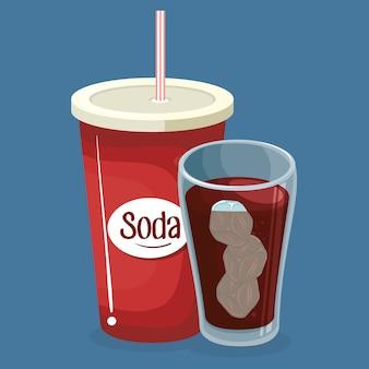 Copos de refrigerante bebida