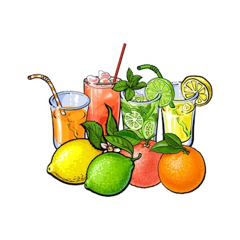 Copos de suco de frutas