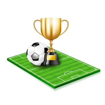 Copos de troféu de ouro 3d e bola de futebol