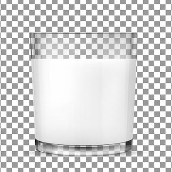 Copos de vidro transparentes para leite