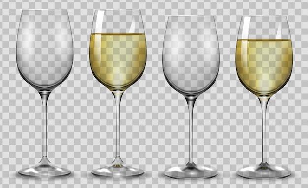 Copos de vinho branco cheios e vazios.