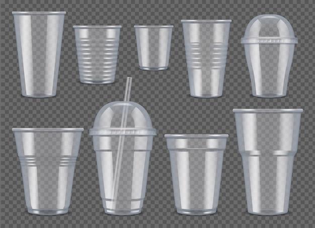 Copos e canecas de plástico transparentes para bebidas