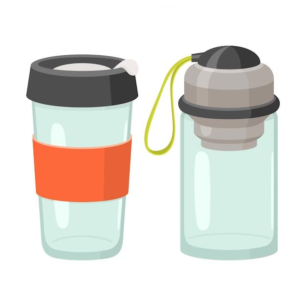 Copos e conjunto de ícones de copos de bebida
