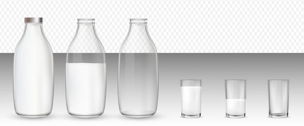 Copos e garrafas, leite.