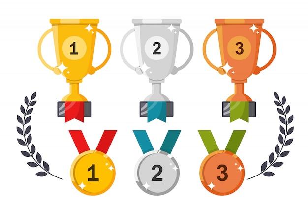 Copos e medalhas. conjunto de prêmios em um