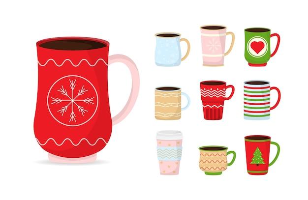 Copos engraçados do natal da coleção. canecas de natal com bebida quente. café e chá de inverno.