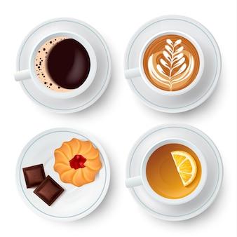 Copos isolados semelhantes com chá e café