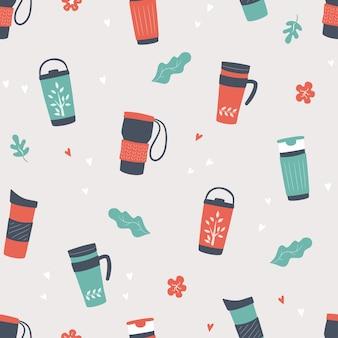 Copos reutilizáveis, caneca térmica e copos sem costura de fundo de ilustração
