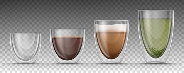 Copos vazios e cheios de diferentes tamanhos com bebidas quentes em estilo realista