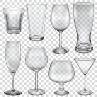 Copos vazios transparentes e taças para bebidas diferentes