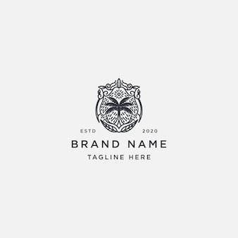 Coqueiro com um estilo de listra de logotipo vintage