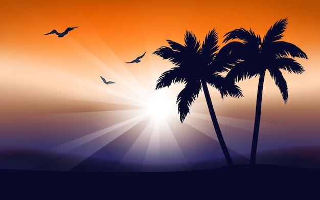 Coqueiros e pássaros voando ao sol