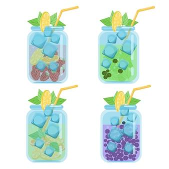 Coquetéis de bebidas conjunto de ilustração vetorial de coquetéis de frutas suculentas brilhantes