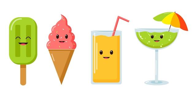 Coquetéis de verão e sorvete ilustração bonito dos desenhos animados bebidas de verão