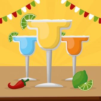 Coquetéis diferentes com limão, tequila e pimenta para celebração mexicana