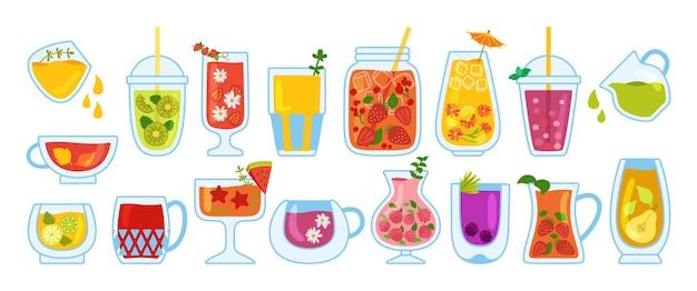 Coquetéis do havaí, copo de verão, copo, jarra e conjunto de desenhos animados de suco de vidro. limonada de morango tropical e chá, caneca de suco de laranja fresco