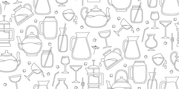 Coquetéis, jarro de verão, frasco e padrão sem emenda de linha preta de vidro.