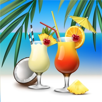 Coquetéis tropicais vetoriais tequila sunrise e pina colada na beira-mar azul com fundo de folhas de palmeira