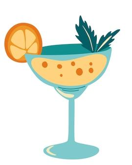 Coquetel. bebida refrescante com uma rodela de folhas de laranja e hortelã. bebida alcoólica.