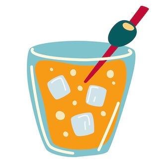 Coquetel com azeitona e gelo. bebida alcoólica. um copo de uísque. criado para designs de menu. férias de verão, festa na praia e celebração. ilustração vetorial no estilo cartoon plana isolado.