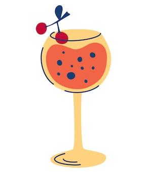 Coquetel com cerejas. imagem estilizada de bebida alcoólica. férias de verão e festa na praia.