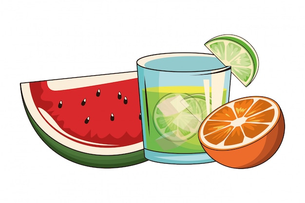 Coquetel com melancia e laranja