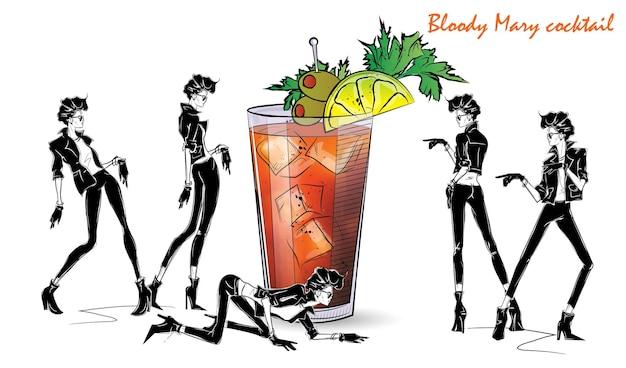 Coquetel de bloody mary. menina da moda no estilo de desenho com coquetel. ilustração vetorial