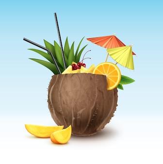 Coquetel de coco de vetor decorado com cereja maraschino, fatias de abacaxi, fatia de laranja, tubos de palha preta e guarda-chuvas de festa verdes e rosa isolados no fundo