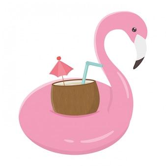 Coquetel de coco dentro do design flamingo