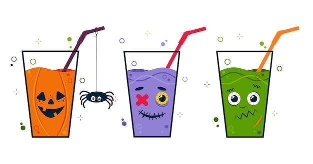 Coquetel de festa de halloween com rostos de personagens fofos assustadores. beba com um canudo.