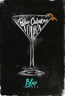 Coquetel de lagoa azul com letras de limonada, curaçao azul, vodka em estilo gráfico vintage, desenho com giz e cor no fundo do quadro-negro