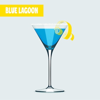 Coquetel de lagoa azul no copo de martini.